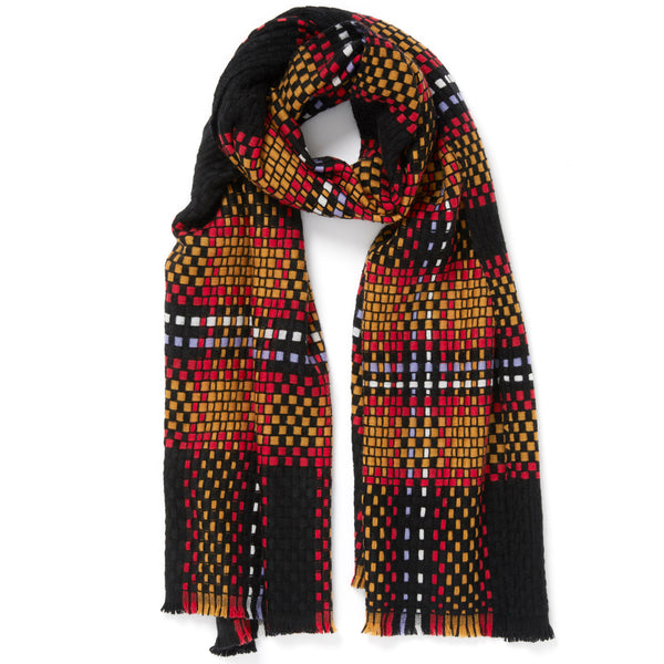 JANE CARR The Plaid Scarf in Firework, woven wool grid scarf – tied