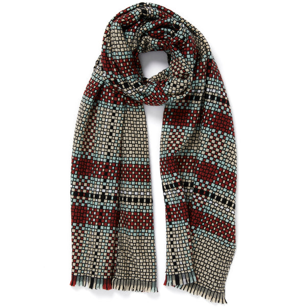 JANE CARR The Plaid Scarf in Teddy, woven wool grid scarf – tied