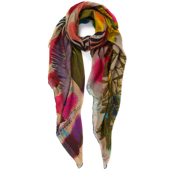 JANE CARR The Sketch Square in Putty, bright multicoloured printed modal and cashmere scarf – tied