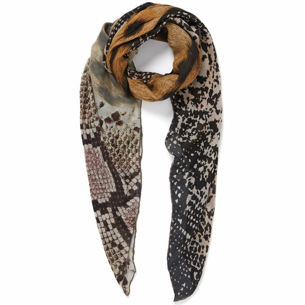 JANE CARR The Safari Square in Lion, modal and cashmere-blend printed scarf – tied