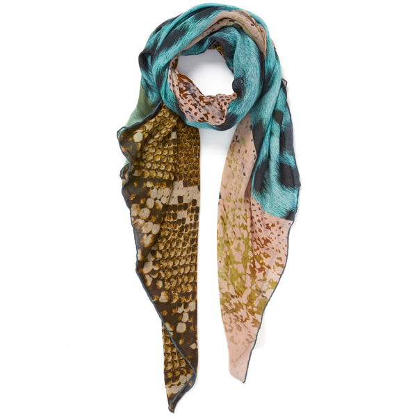 JANE CARR The Safari Square in Tiffany, modal and cashmere-blend printed scarf – tied