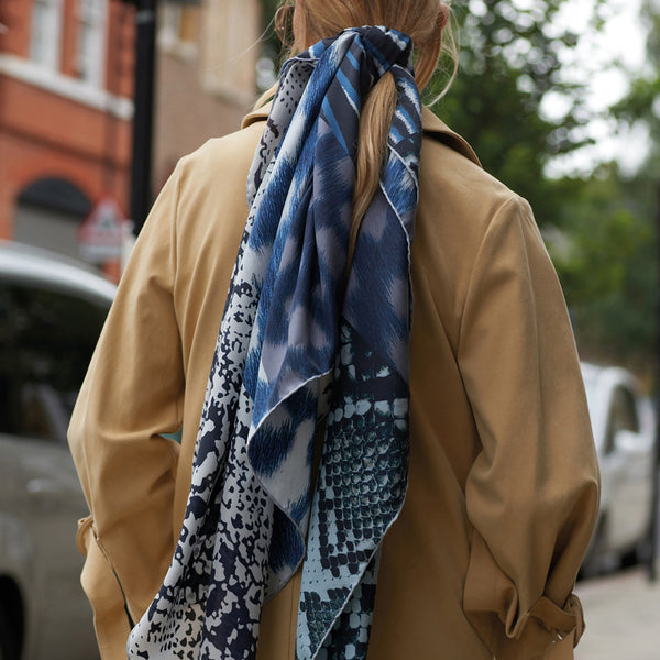 JANE CARR The Safari Square in Blue, washed silk printed scarf – model