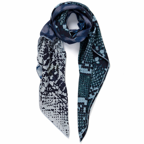 JANE CARR The Safari Square in Blue, washed silk printed scarf – tied
