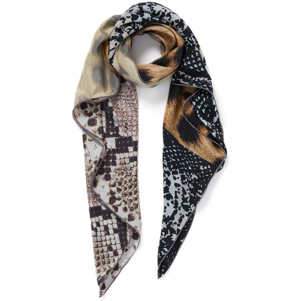 JANE CARR The Safari Square in Lion, neutral washed silk printed scarf – tied