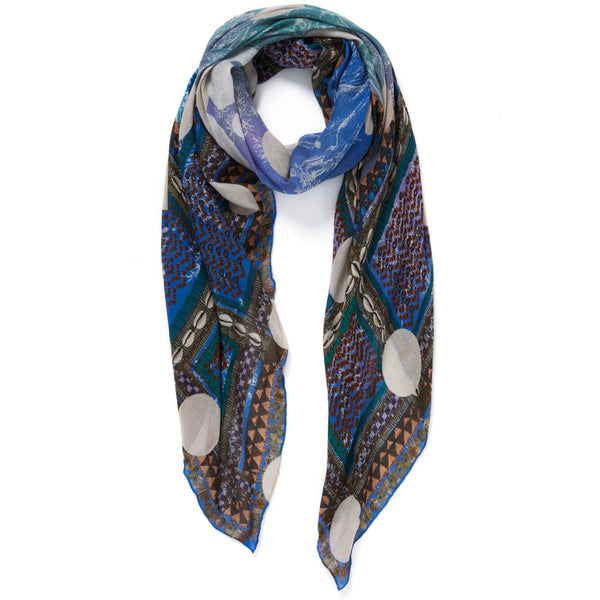 JANE CARR The Self Square in Boy, blue multicoloured printed modal and cashmere scarf – tied