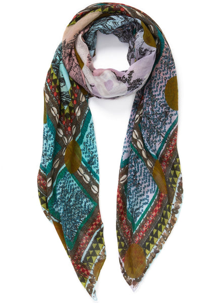 JANE CARR The Self Square in Sargasso, khaki multicoloured printed modal and cashmere scarf – tied