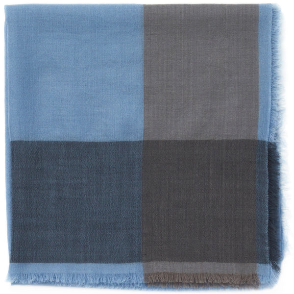 JANE CARR The Frame Square in Boy, blue and taupe border cashmere scarf – folded