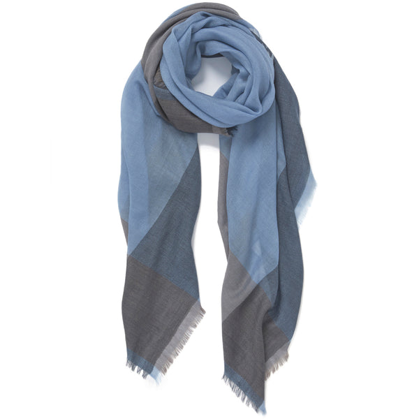 JANE CARR The Frame Square in Boy, Blue and taupe border cashmere scarf – tied