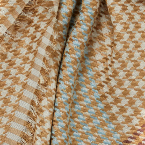 JANE CARR The Picnic Square in Lion, tonal camel checked modal and cotton scarf – detail