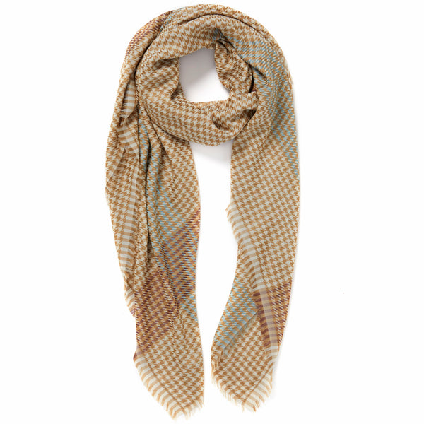 JANE CARR The Picnic Square in Lion, tonal camel checked modal and cotton scarf – tied
