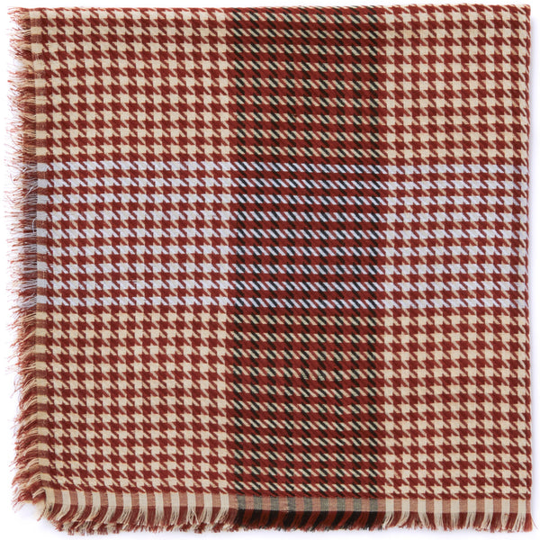 JANE CARR The Picnic Square in Liver, burgundy and cream checked modal and cotton-blend scarf – folded
