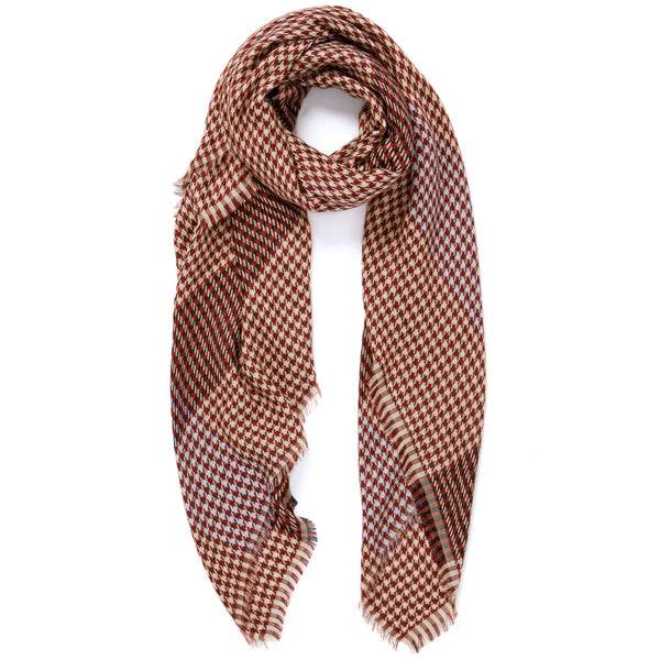 JANE CARR The Picnic Square in Liver, burgundy and cream checked modal and cotton-blend scarf – tied