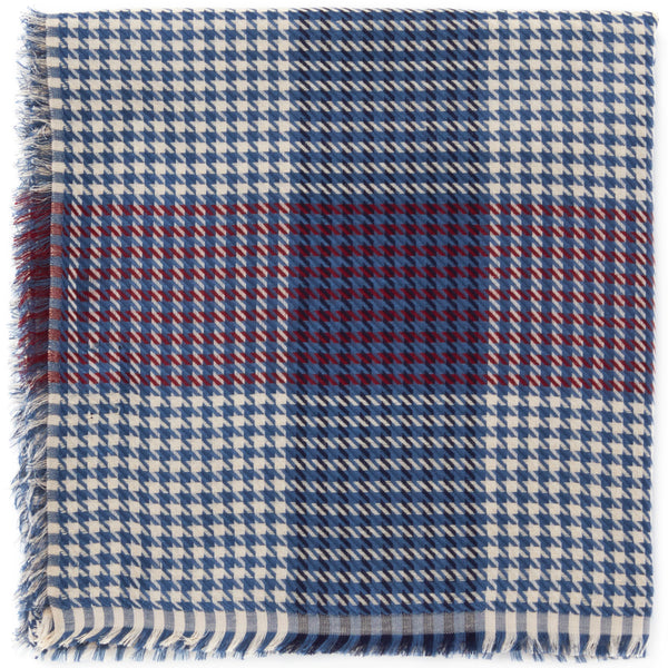 JANE CARR The Picnic Square in Mondrian, blue and burgundy checked modal and cotton scarf – folded