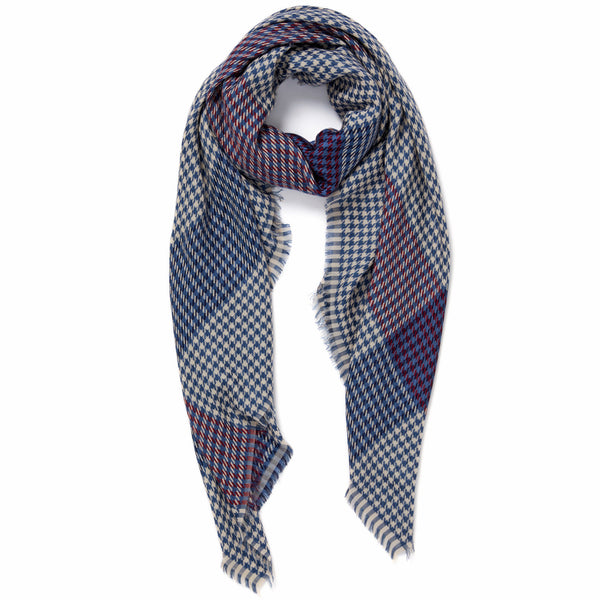 JANE CARR The Picnic Square in Mondrian, blue and burgundy checked modal and cotton scarf – tied