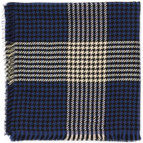 JANE CARR The Picnic Square in Navy, navy and cream checked modal and cotton scarf – folded