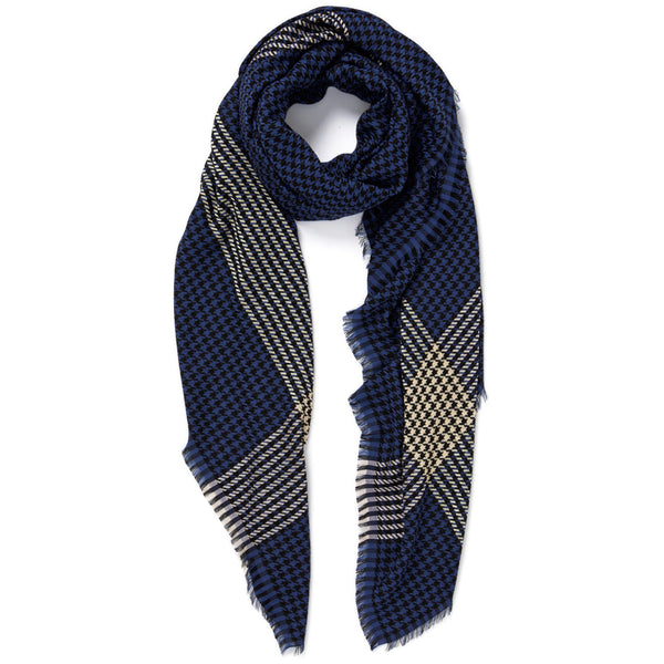 JANE CARR The Picnic Square in Navy, navy and cream checked modal and cotton scarf – tied