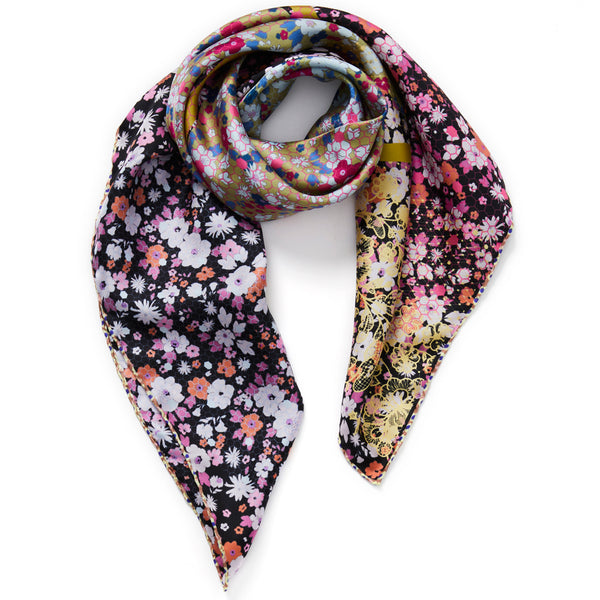 JANE CARR The Rickrack Foulard in Currant, purple multicoloured printed silk twill scarf – tied