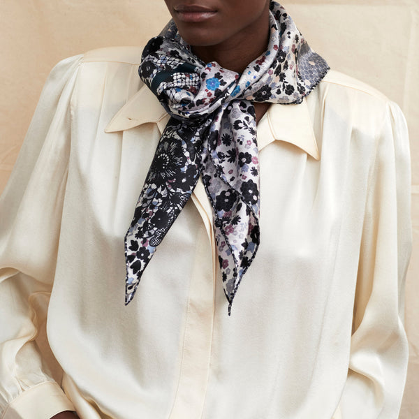 JANE CARR The Rickrack Foulard in Frost, monochrome printed silk twill scarf – model