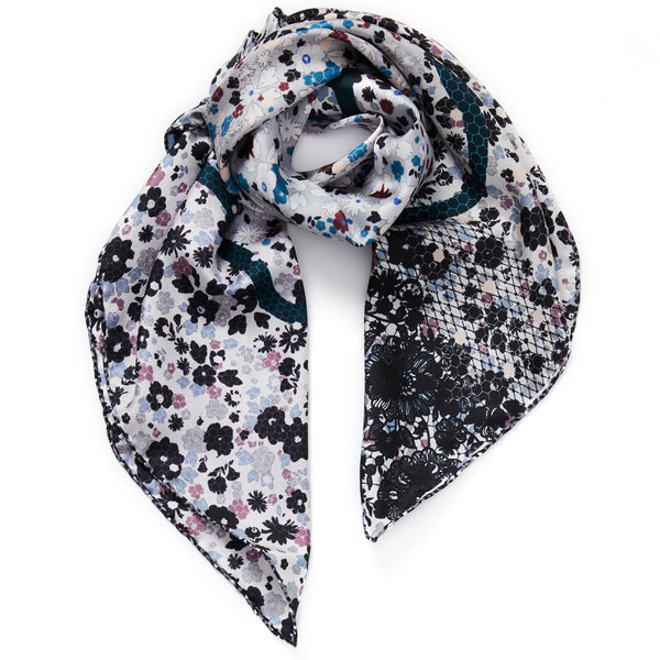 JANE CARR The Rickrack Foulard in Frost, monochrome printed silk twill scarf – tied