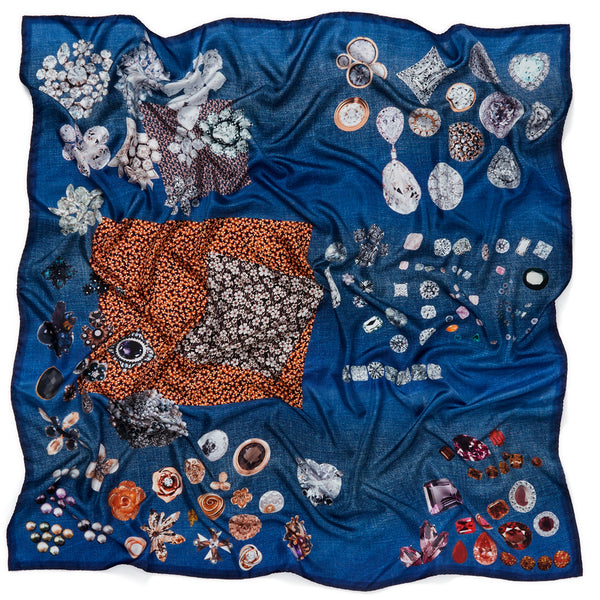 JANE CARR The Trinket Square in Indigo, blue multicoloured printed silk twill scarf – crinkly