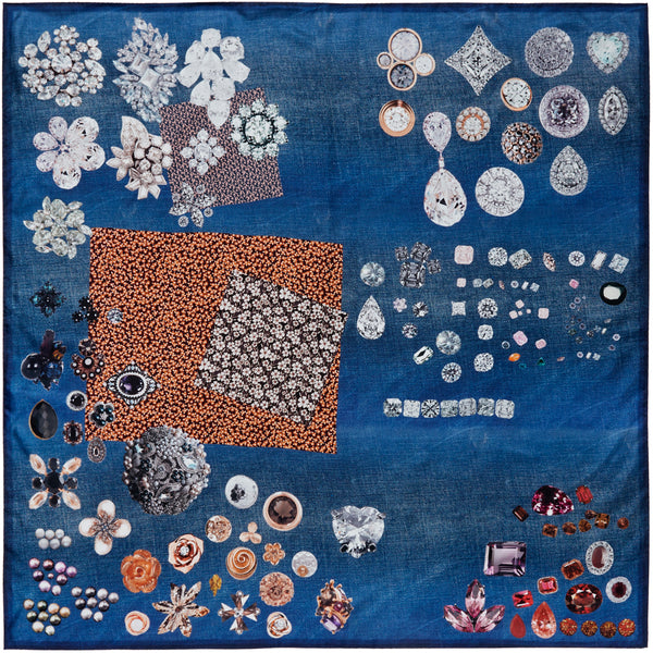 JANE CARR The Trinket Square in Indigo, blue multicoloured printed silk twill scarf – flat