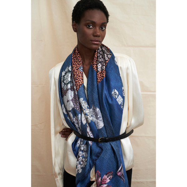 JANE CARR The Trinket Square in Indigo, blue multicoloured printed silk twill scarf – model