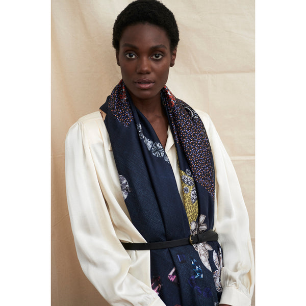 JANE CARR The Trinket Square in Midnight, dark blue multicoloured printed silk twill scarf – model