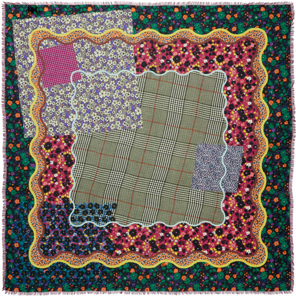 JANE CARR The Rickrack Square in Aintree, purple multicoloured printed modal and cashmere scarf – flat