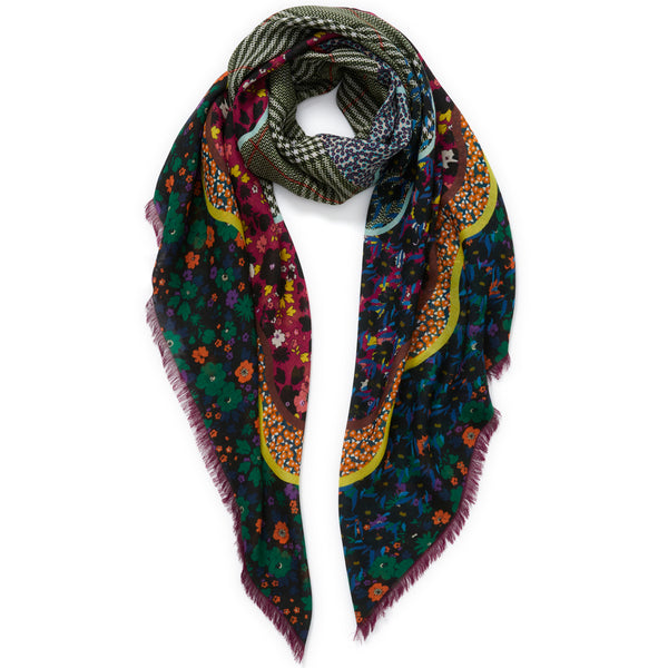 JANE CARR The Rickrack Square in Aintree, purple multicoloured printed modal and cashmere scarf – tied