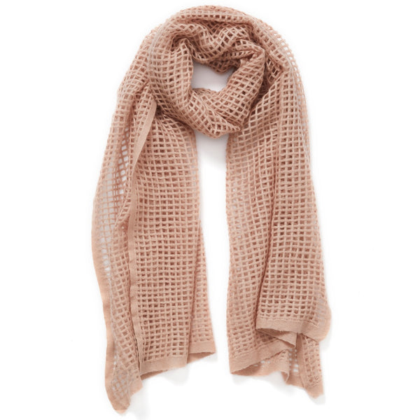 JANE CARR The Mesh Scarf in Rose, pink grid woven cashmere scarf – tied