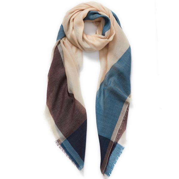 JANE CARR The Frame Square in Sand, burgundy and turquoise frame border cashmere scarf – tied
