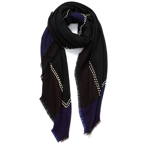 JANE CARR The Pearls Square in Midnight, black and blue checked lambswool scarf with pearl detail – tied