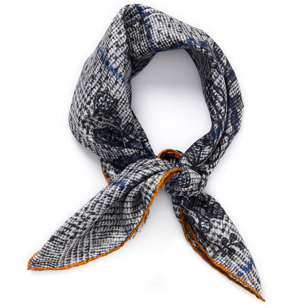 JANE CARR The Prince Petit Foulard in Mist, grey and black multicoloured printed silk twill scarf - tied