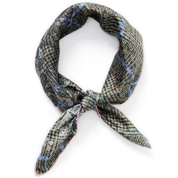 JANE CARR The Prince Petit Foulard in Sage, pale grey and blue multicoloured printed silk twill scarf - tied