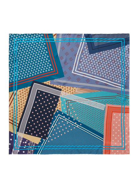 JANE CARR The Polka Foulard in Amalfi, blue multicolour printed silk twill scarf – flat