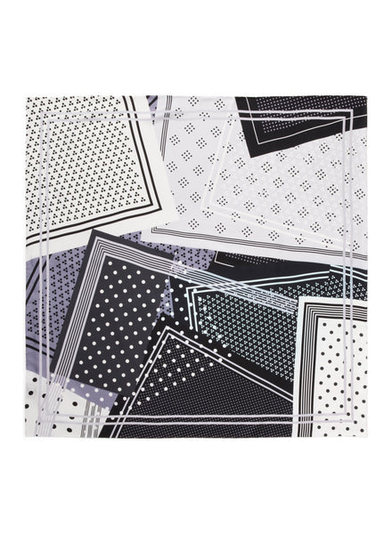 JANE CARR The Polka Foulard in Appaloosa, monochrome printed silk twill scarf – flat