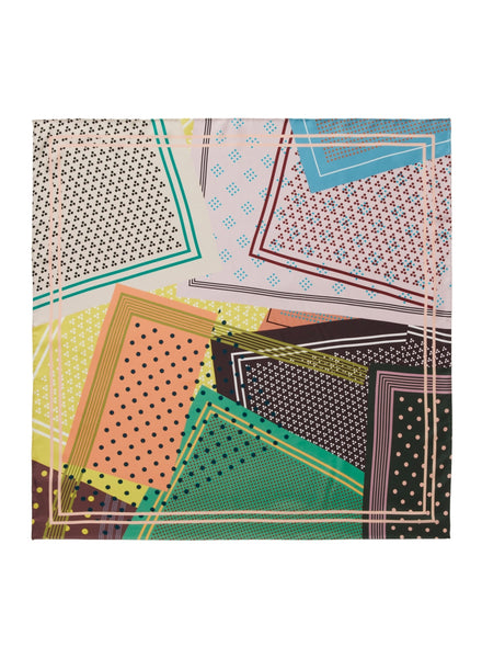 JANE CARR The Polka Foulard in Gelato, multicolour printed silk twill scarf – flat