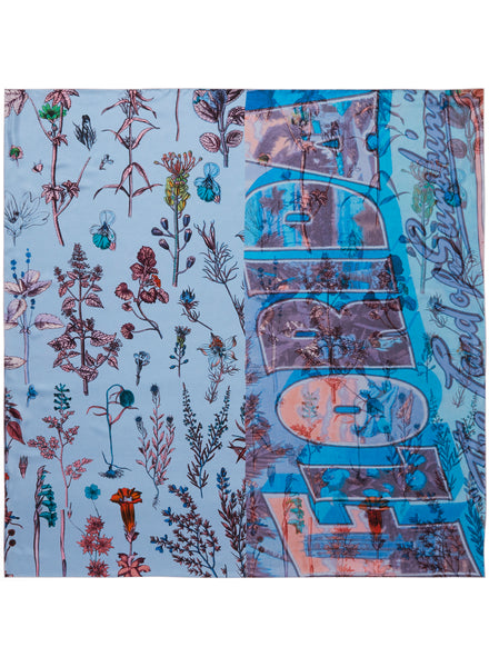 JANE CARR The Botany Square in Borage, blue and pink printed silk twill scarf – flat
