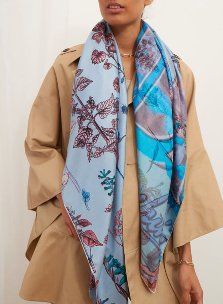 JANE CARR The Botany Square in Borage, blue and pink printed silk twill scarf – model