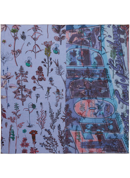 The Botany Square in Borage, blue printed modal and cashmere scarf - flat