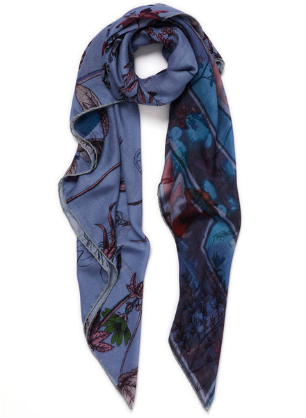 The Botany Square in Borage, blue printed modal and cashmere scarf - tied