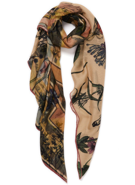 The Botany Square in Shell, cream printed modal and cashmere scarf - tied