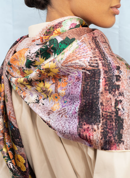 JANE CARR The Cairo Square in Toffee, pink and neutral multicolour printed silk twill scarf - model