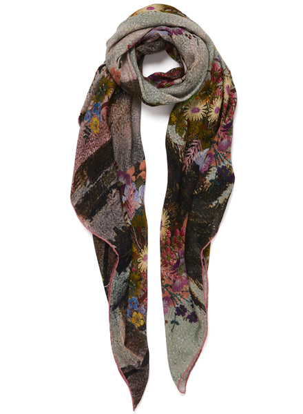 JANE CARR The Cairo Square in Dusk, pink multicolour printed modal and cashmere scarf - tied