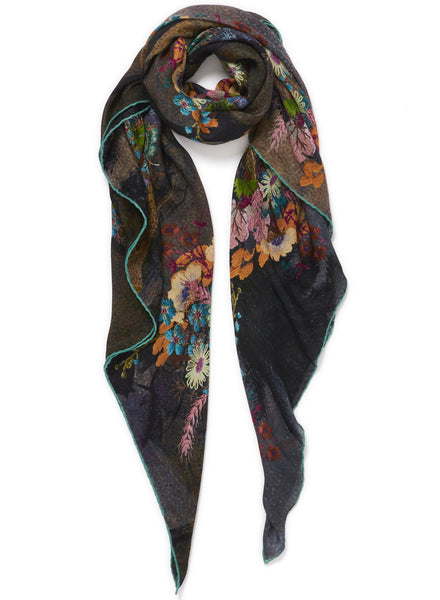 JANE CARR The Cairo Square in Mizzle, blue and orange multicolour printed modal and cashmere scarf - tied