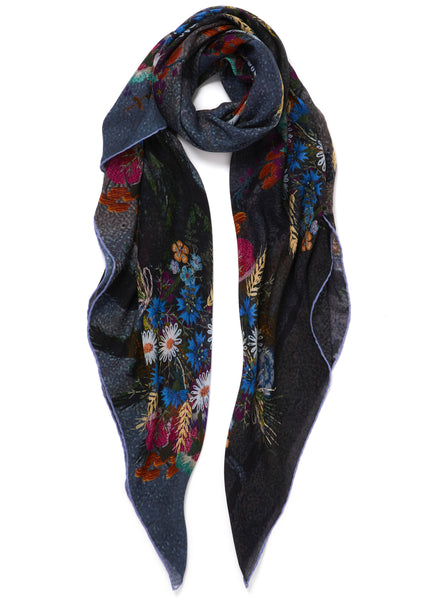 JANE CARR The Cairo Square in Tempest, blue multicolour printed modal and cashmere scarf - tied