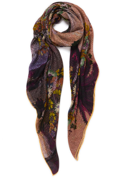 JANE CARR The Cairo Square in Toffee, pink and neutral multicolour printed modal and cashmere scarf – tied