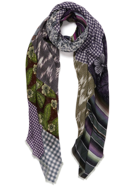 JANE CARR The Holiday Wrap in Amalfi, purple multicolour printed modal and cashmere scarf - tied