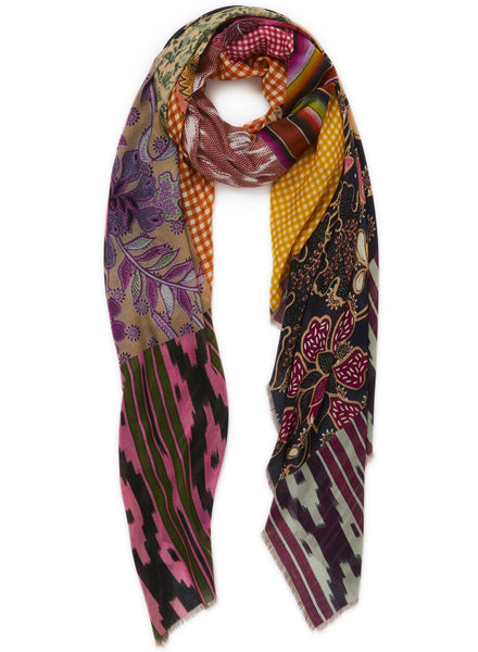 JANE CARR The Holiday Wrap in Ginkgo, bright multicolour printed modal and cashmere scarf - tied