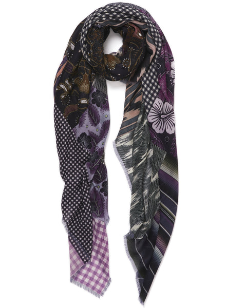 JANE CARR The Holiday Wrap in Indigo, blue and purple printed modal and cashmere scarf - tied